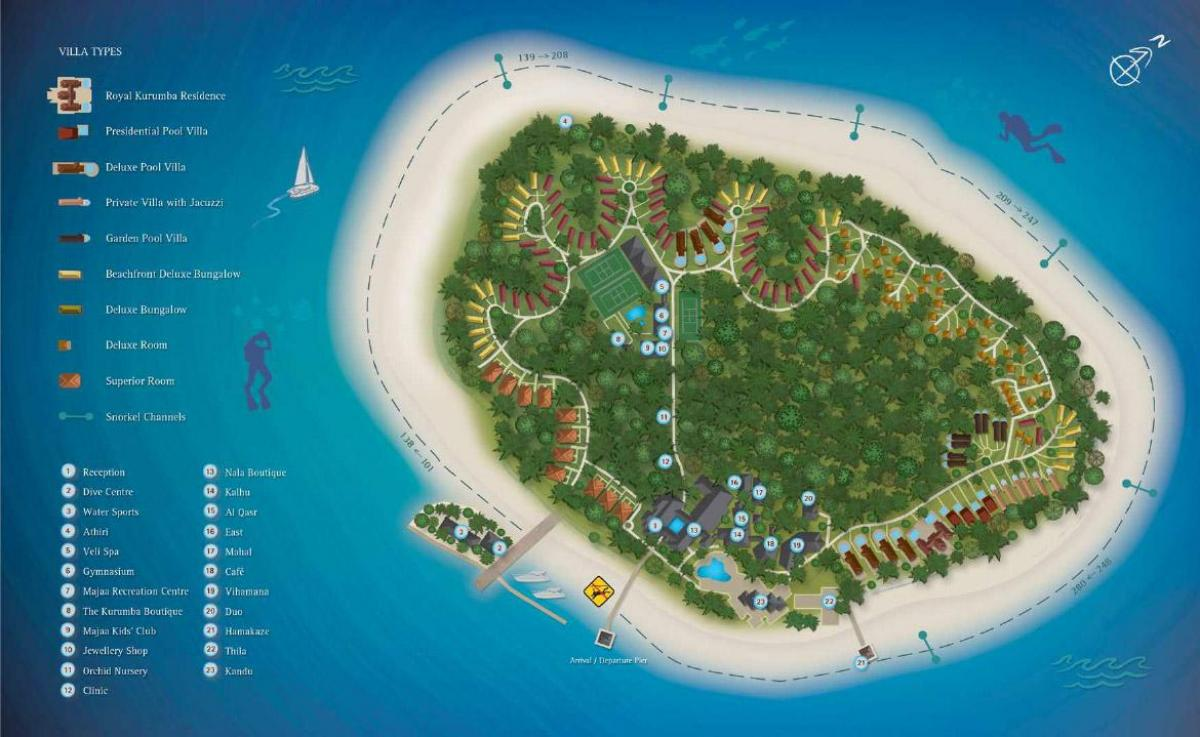 kurumba maldives resort mapa