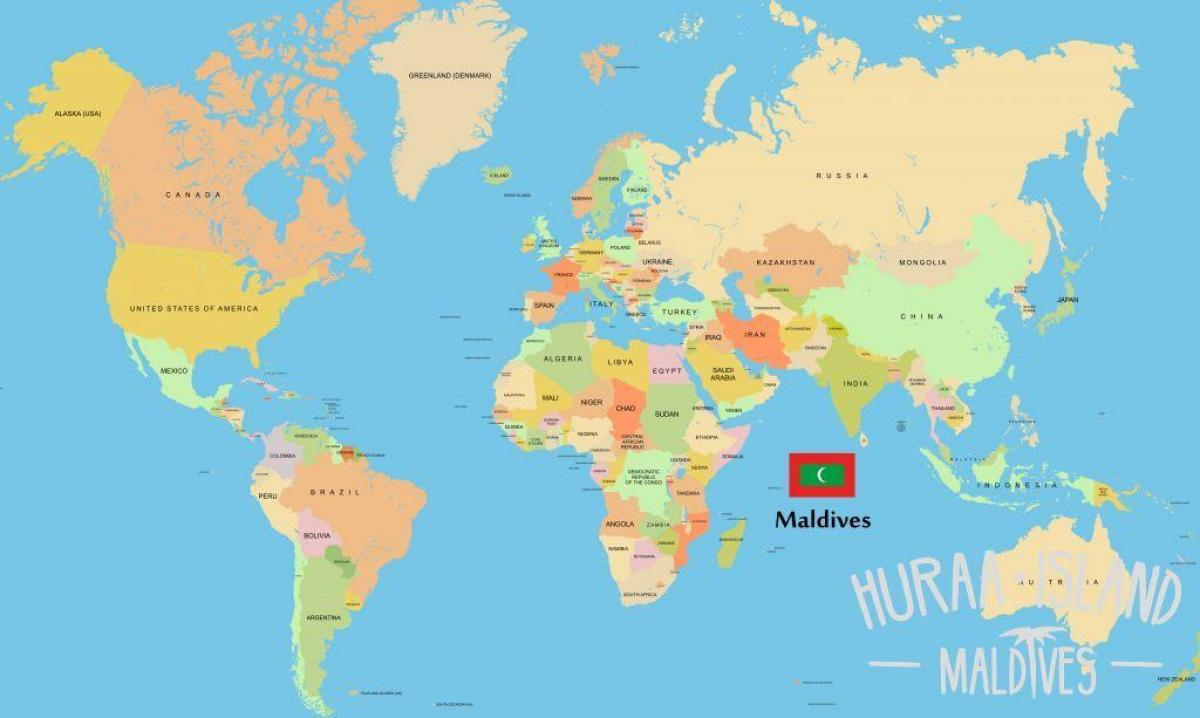Maldivas En El Mapa Del Mundo Muestran Maldivas En El Mapa Del