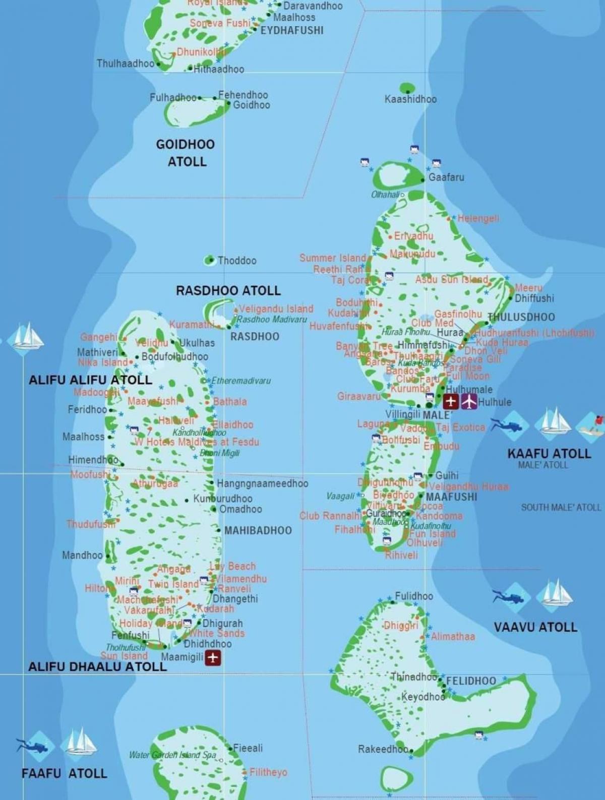 Mapa De La Isla De Maldivas Para Visitantes